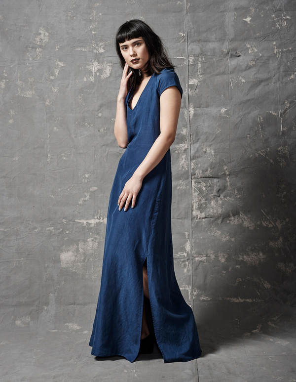 ALI GOLDEN V-NECK MAXI DRESS - BLUE