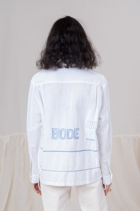 Unisex Bode Grecian Embroidered Havana Shirt - White/Blue