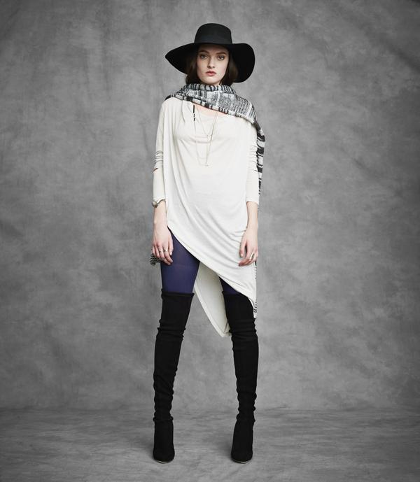 Laura Siegel Asymmetrical Long Sleeve Drape Top