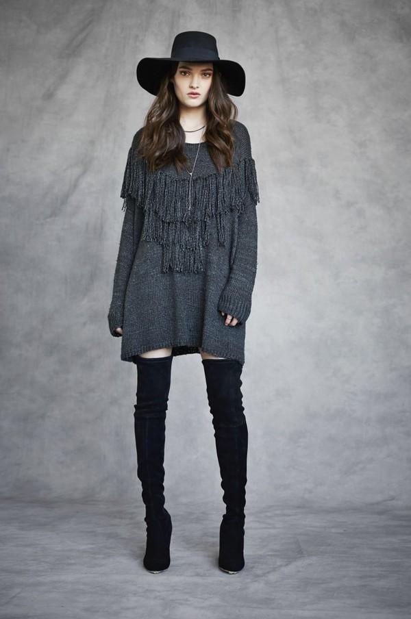Laura Siegel Knit Oversized Fringe Sweater