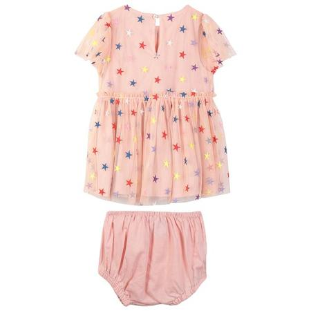 KIDS Stella McCartney Baby Tulle Dress With Bloomers - Pink With Multicolour Embroidered Stars