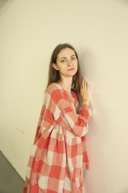 Ichi Antiquites Block Check Dress - Pink/White