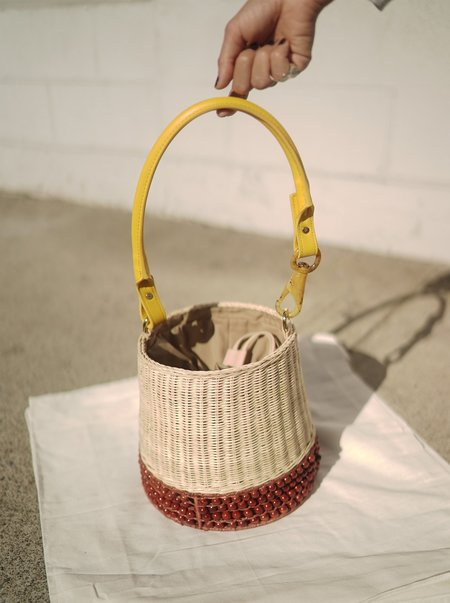 Lucy Folk Basket Bucket Bag - Sand/Terracotta/Yellow