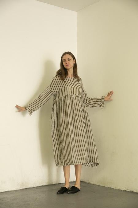 Ichi Antiquites Stripe Dress - Black/White