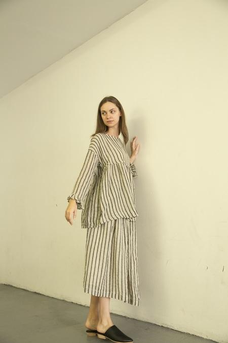 Ichi Antiquites Stripe Pullover Top - Black/White