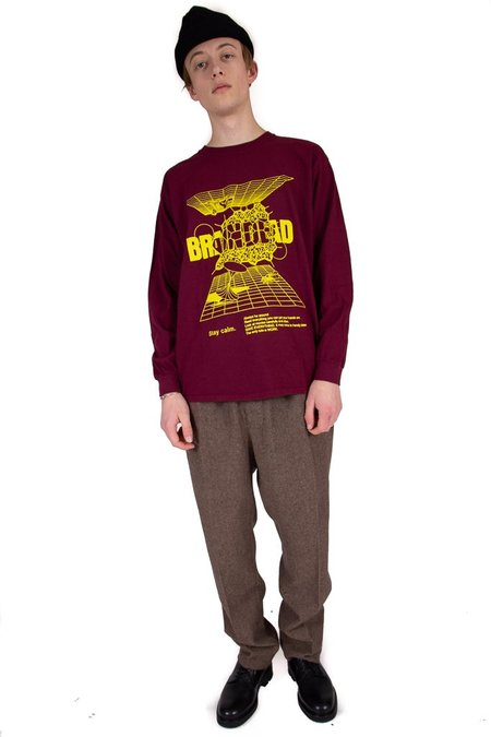 Brain Dead Orbit Long Sleeve Tee - Burgundy