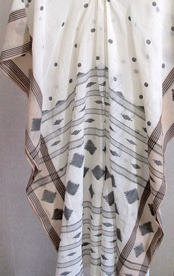 Two White and tan Jamdani sari caftan
