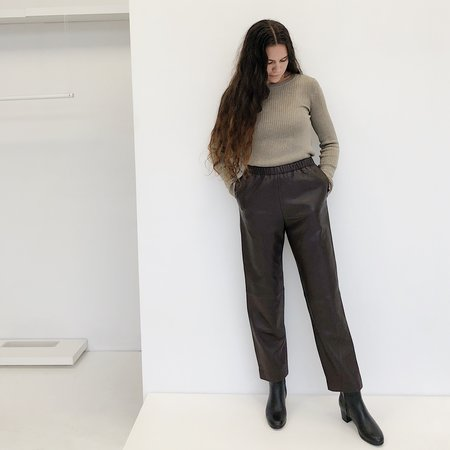 Johan Vintage Leather Easy Pant - Chocolate