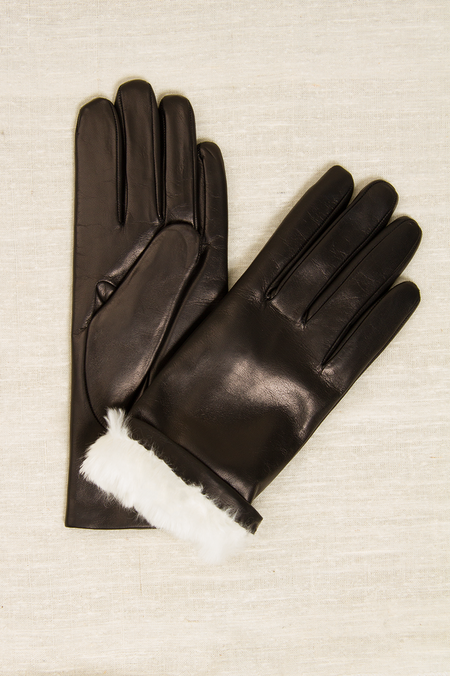 Fratelli Orsini Italian Rabbit Fur Gloves - BLACK