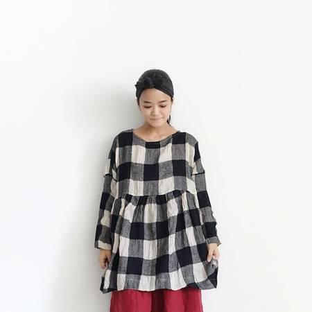 ICHI ANTIQUITES Block Check Linen Tunic Dress - Black/White Check Print