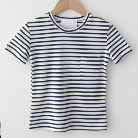 KIDS Pley Striped Jericho Tee - Blue/Cream Stripe
