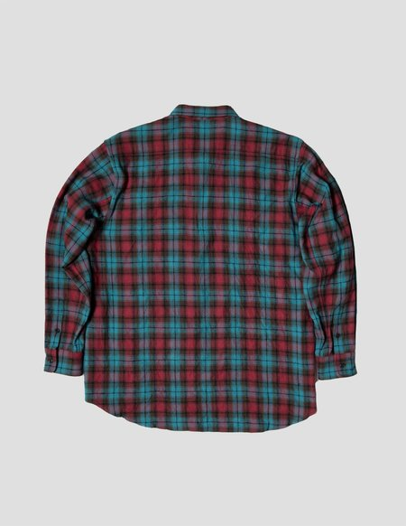 Kapatid NYC Wide Shirt - Turquoise Blue/Red Plaid