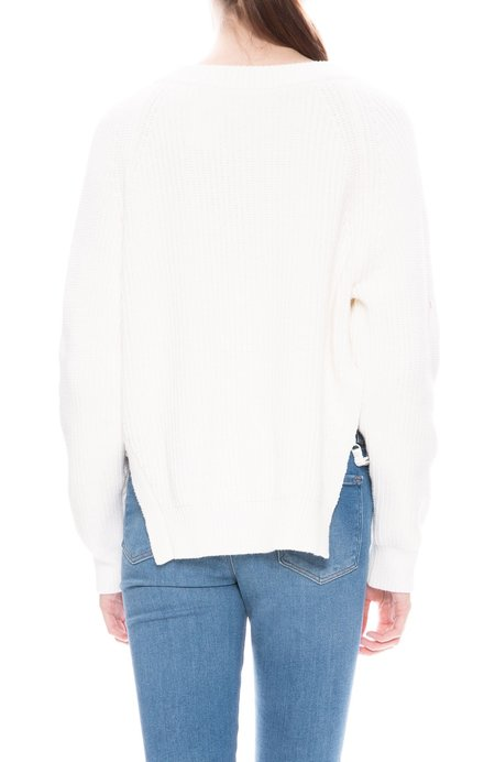T By Alexander Wang Chunky V Neck Sweater - Off White