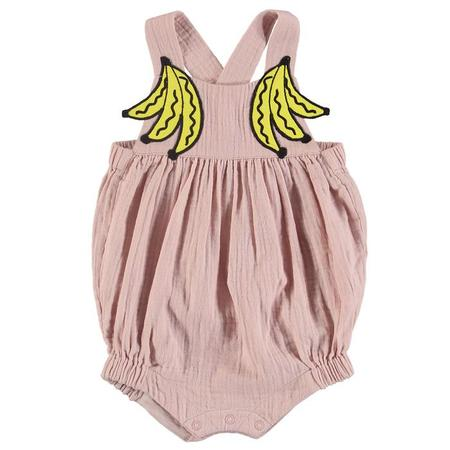 KIDS Stella McCartney Baby Sleeveless Romper With Embroidered Banana Patches - Pink
