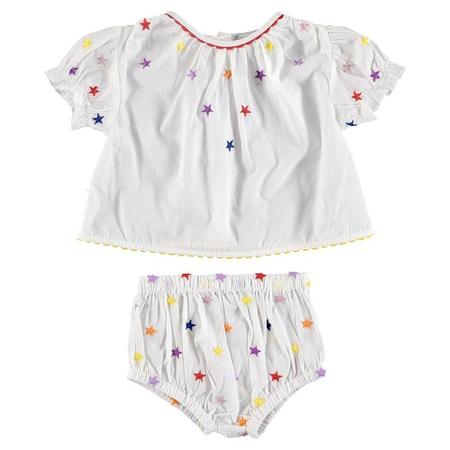 KIDS Stella McCartney Baby Two Piece Set Shirt And Bloomers with Multicolour Embroidered Stars - White
