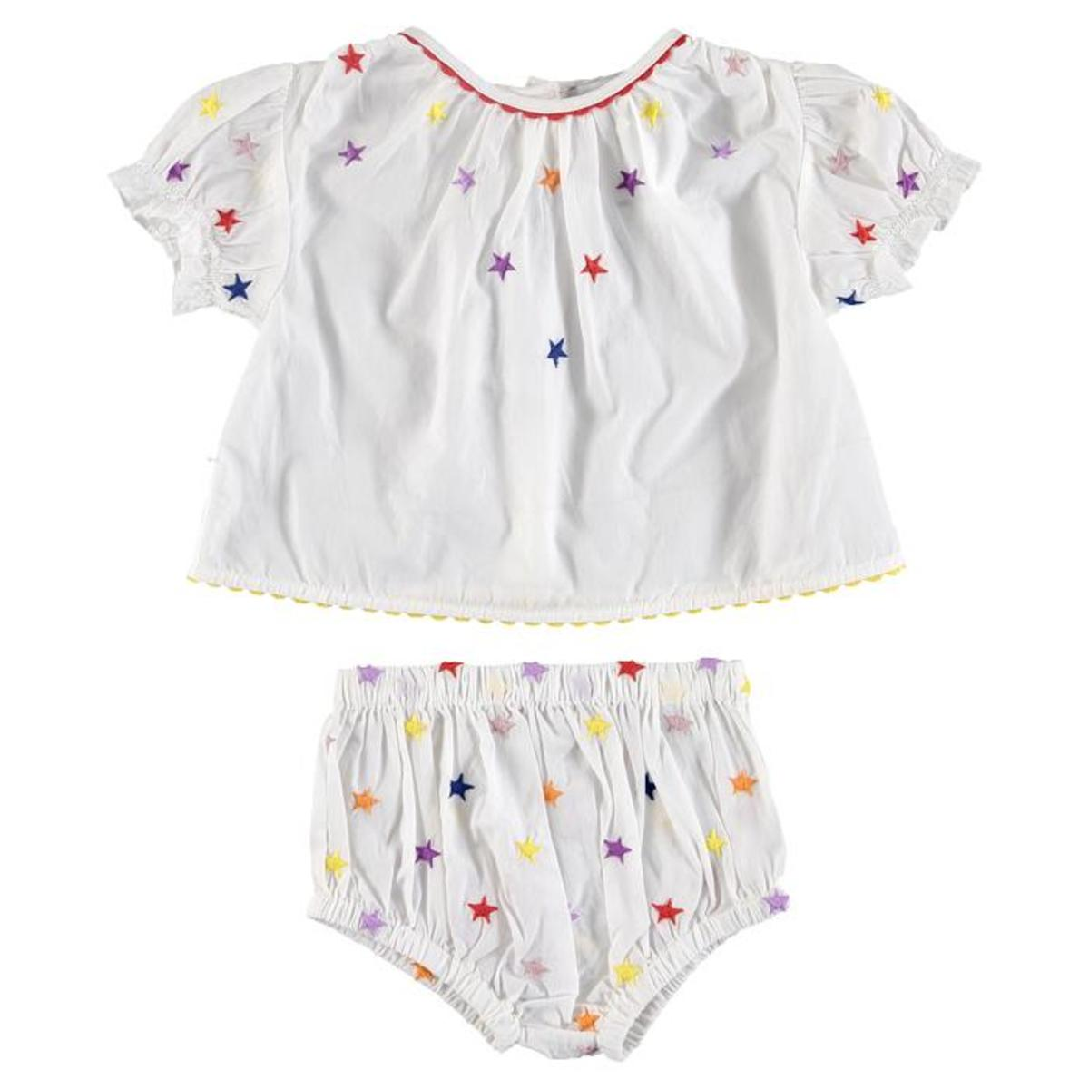 c0f54fd4df6fb KIDS Stella McCartney Baby Two Piece Set Shirt And Bloomers with  Multicolour Embroidered Stars - White