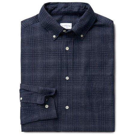 Gant Rugger Grindle Checked Twill Longsleeve Buttondown Shirt - Marine Blue