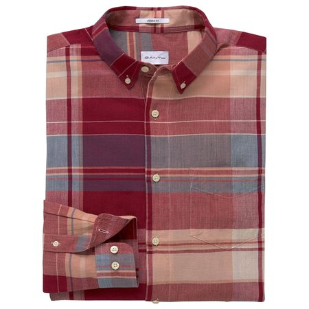 Gant Rugger Selvedge Bleeding Madras Shirt - Crimson