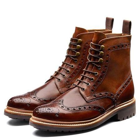 Grenson 'Fred' Brogue Boot - Handpainted Dark Brown
