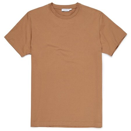 Sunspel Q82 Soft Egyptian Cotton 60's Two Fold Short Sleeve T-Shirt - CAMEL