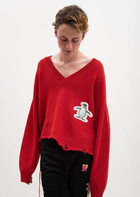 Doublet 3D Patch Cut Off Sweater - Red