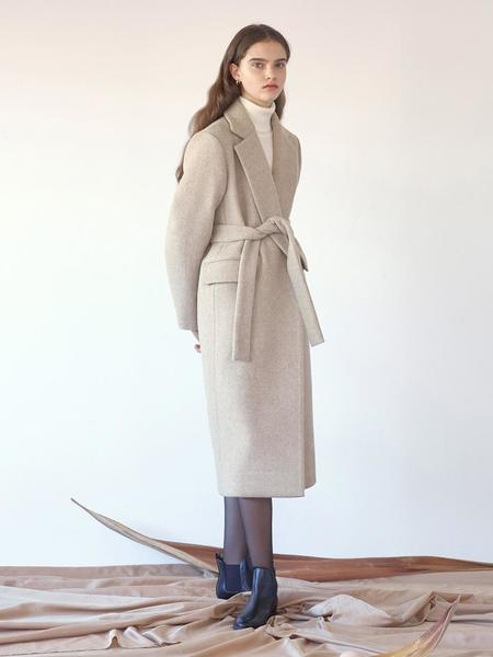 KLEAN Belted Long Coat - Oatmeal