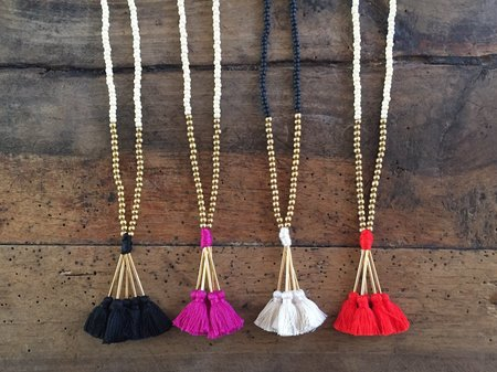 Krysos + Chandi Mala Tassel Bead Necklace