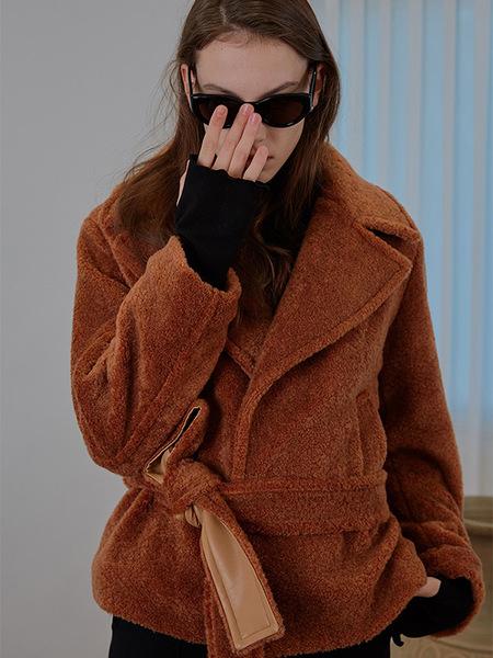 MAISON MARAIS Wide Lapel Boucle Coat - Camel