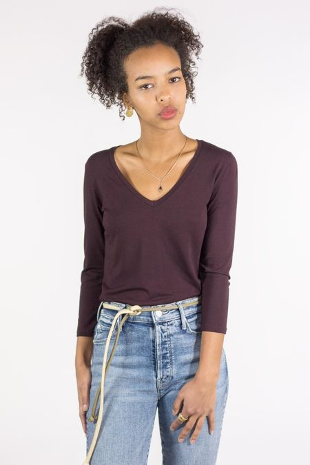 Majestic Soft Touch 3/4 Sleeve V-Neck Top - Aubergine