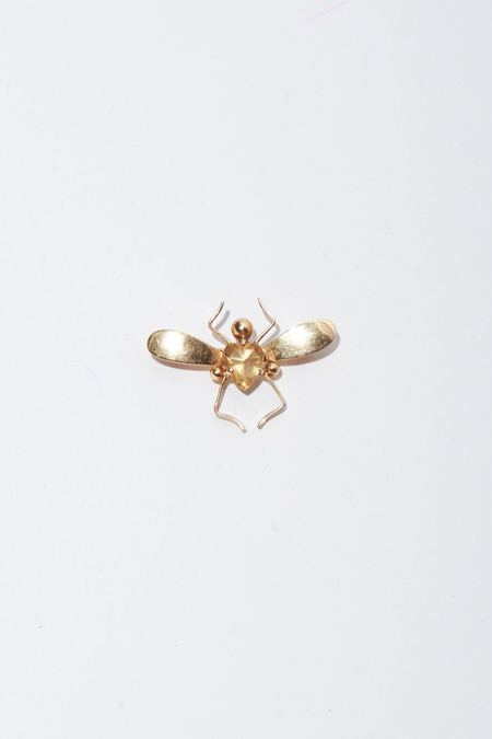 Vintage Tiffany & Co Bug Pendant with Heart Gem - 14k Gold/Citrine