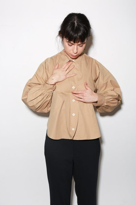 ARCH THE Long Sleeve Cotton Blouse - Camel