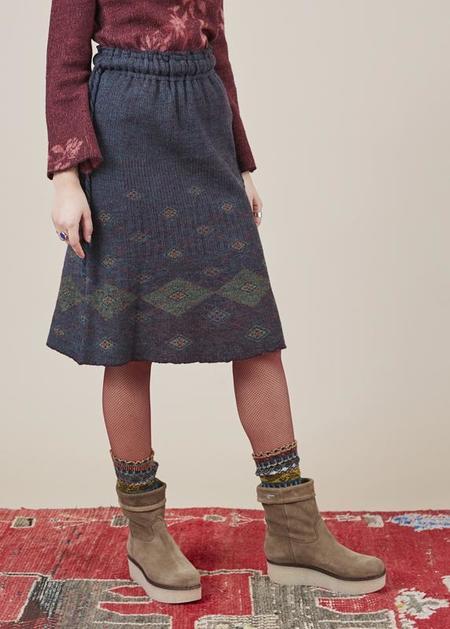 Butapana Knit Argyle Skirt - grey