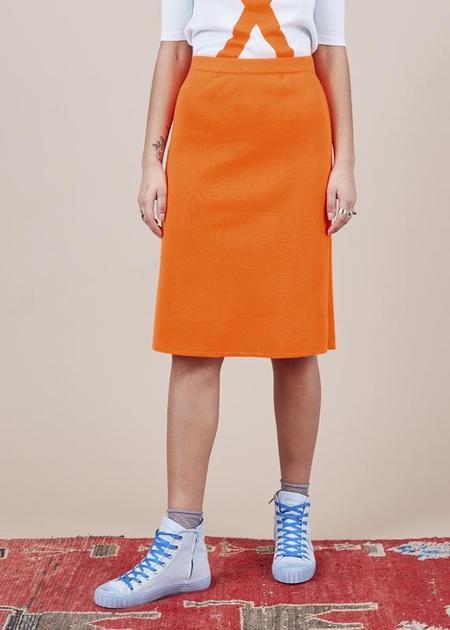 Sartoria Vico Knit A-Line Skirt - bright orange