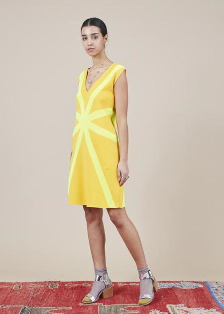 Sartoria Vico Sleeveless V-Neck Dress - golden yellow