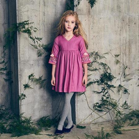 KIDS Nellystella Baby And Child Berta Long Sleeved Dress With Embroidery - Radiant Orchid Pink