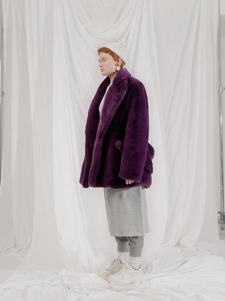 101MOON Faux Fur Strap Halfcoat - Purple