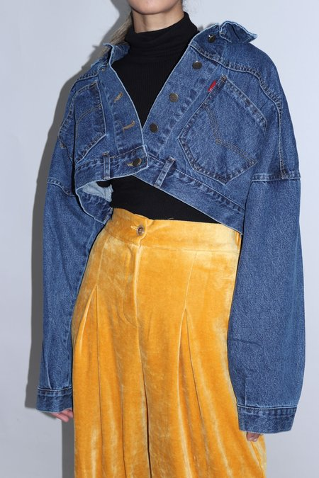 W A N T S Cropped Buttoned Denim Jacket - Blue
