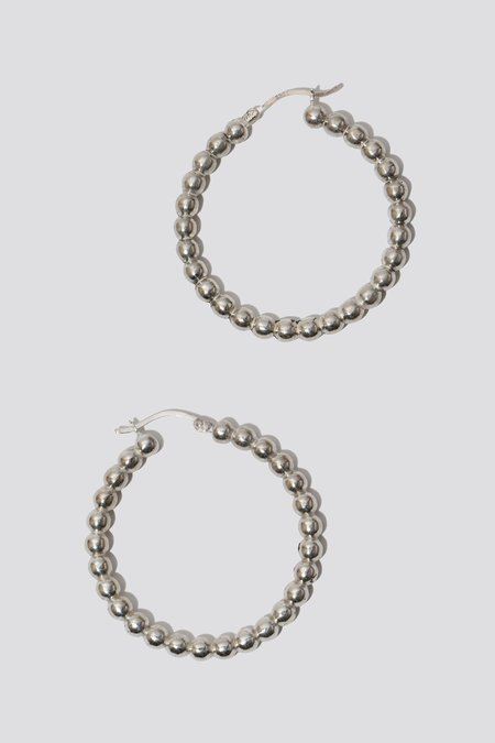 Oma Rosa Studded Hoops - Silver