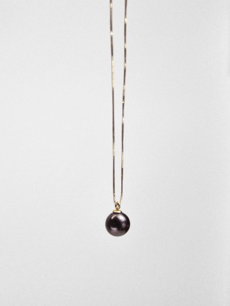 IGWT Pippa Pearl Necklace - Yellow Gold/Black Pearl