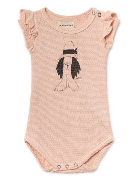 KIDS Bobo Choses Ruffled Pointelle Baby Body ONESIE - Peach