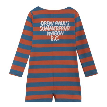 KIDS Bobo Choses Baby Swimsuit Overall - Brown/Blue Stripes