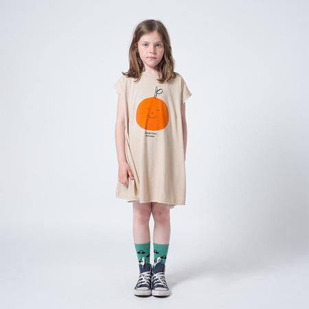KIDS Bobo Choses Child Dress With Tangerine Dreams Print - Taupe Brown