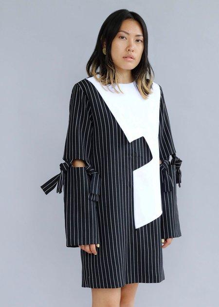 MmusoMaxwell Boxy Knot Dress - BLACK/WHITE