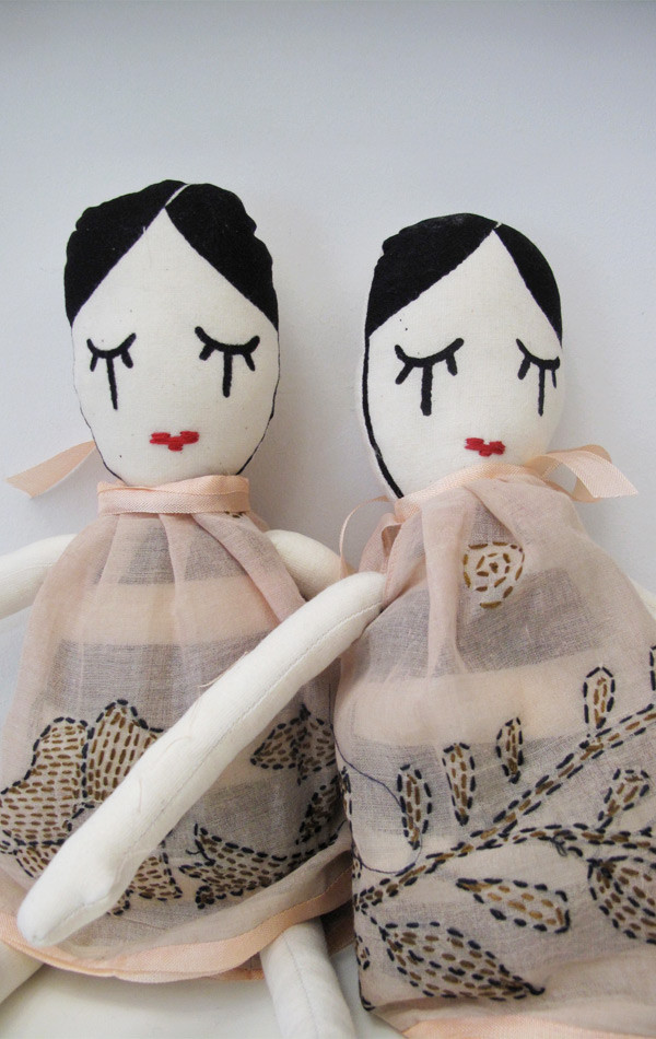 Two Silkscreened Doll with Kantha pink dress