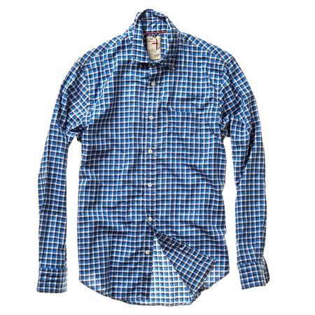Relwen Lightweight Blues Offset Check Shirt - Bright Blue