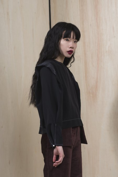 Winsome Goods Edith Silk Top - Black