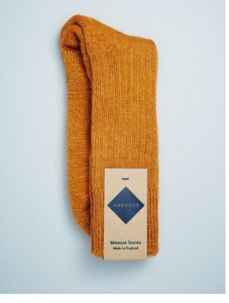 Marwood Heavy Knit Mohair Socks - Mustard