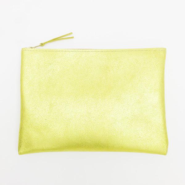 ARA Handbags - Metallic Chartreuse Clutch No. 4