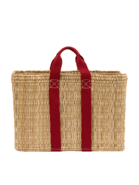 Rue de Verneuil Large Straw Basket with Red Handle