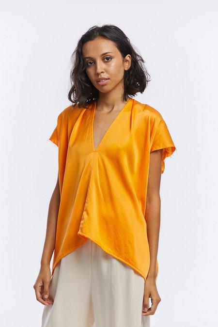 Miranda Bennett Silk Charmeuse Everyday Top - Mandarin